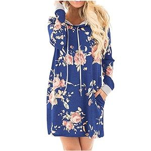 Boutique Tops - Floral Oversized Hooded Sweater Tunic Dress